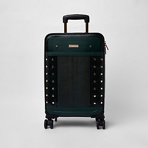 Dark green snake print studded suitcase