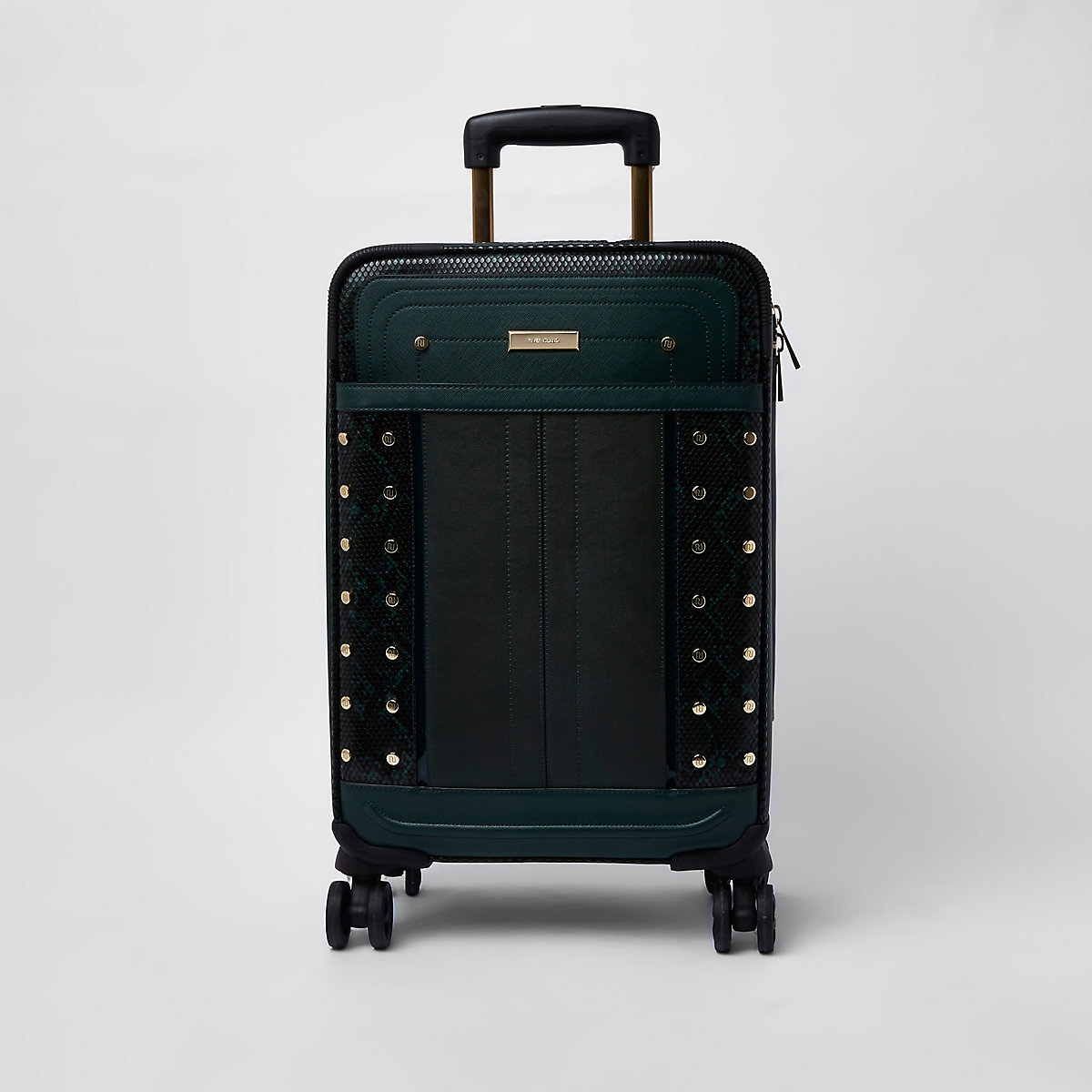 Dark green snake print studded suitcase