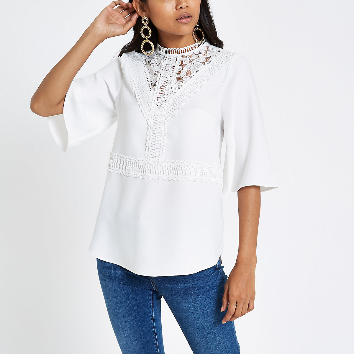 Petite white lace insert high neck top