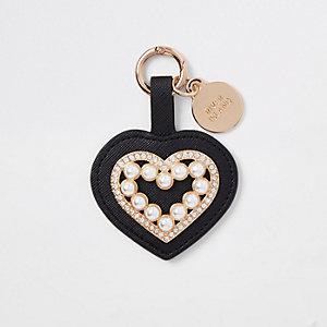 Zwarte sleutelhanger met hartje, diamantjes en pareltjes