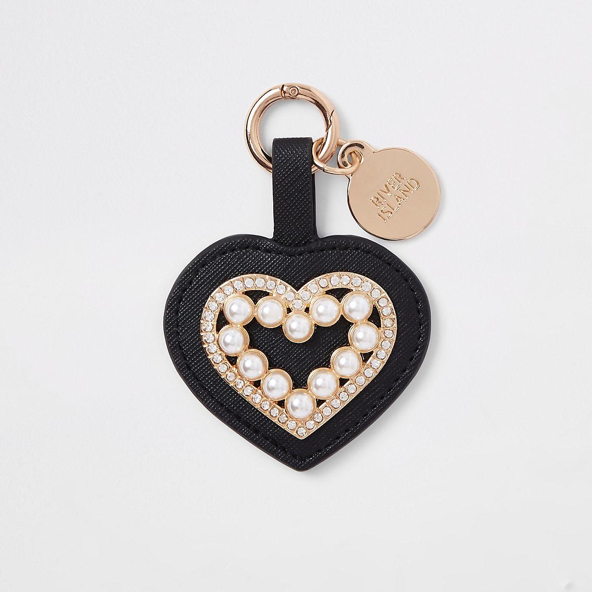 Porte-clés cœur noir à perles et strass