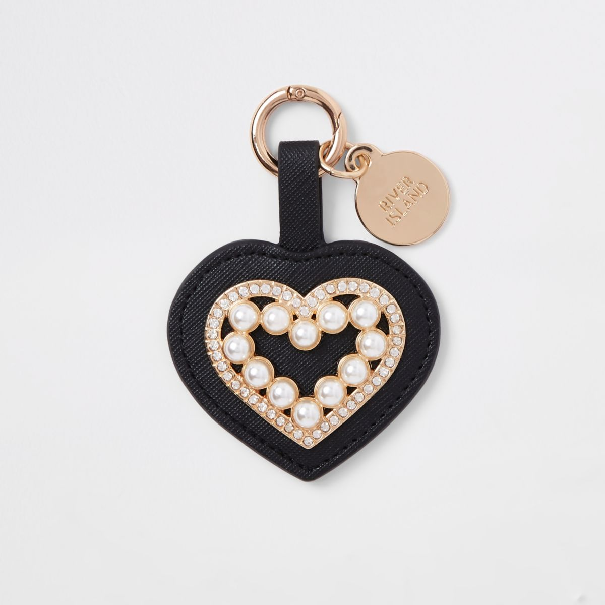 Black diamante pearl heart keyring