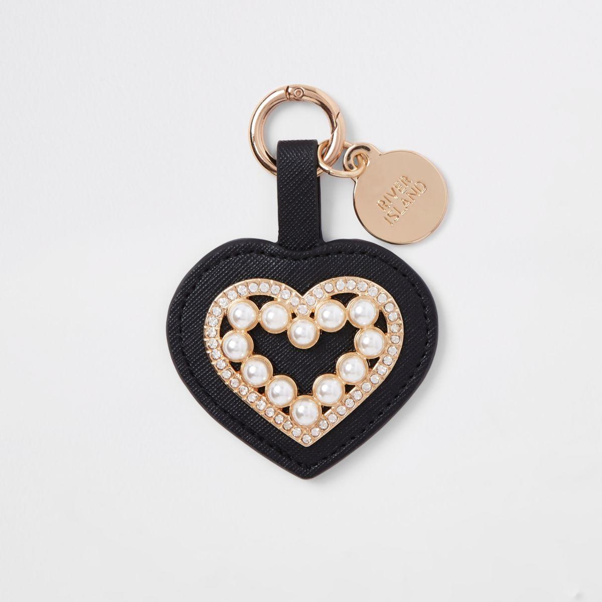 Black rhinestone pearl heart keyring