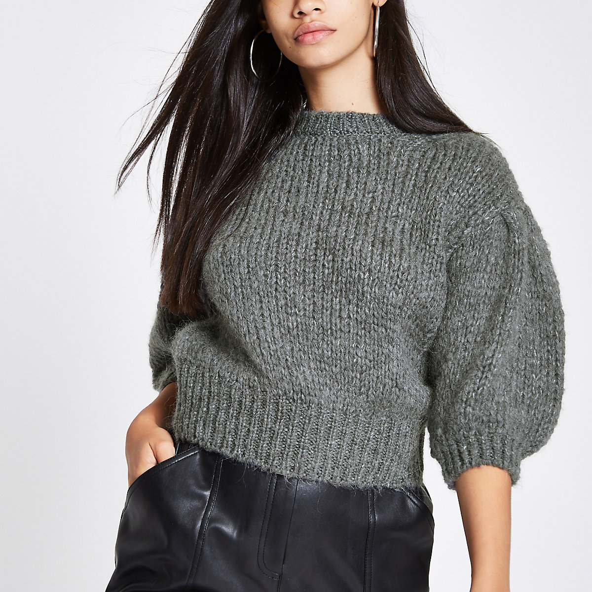 Dark grey knit cropped jumper