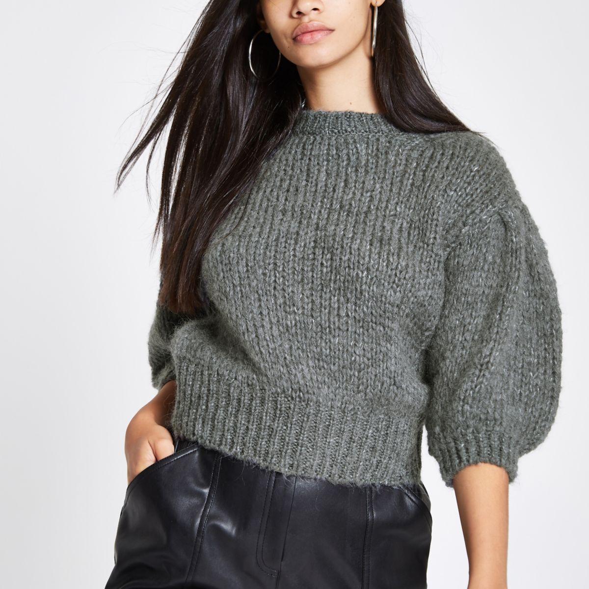 Dark grey knit cropped jumper