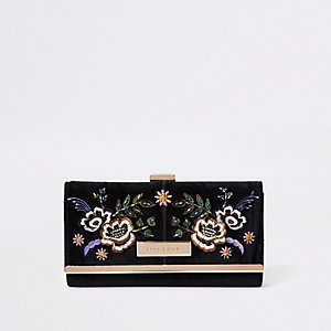 Black floral embroidered clip top purse