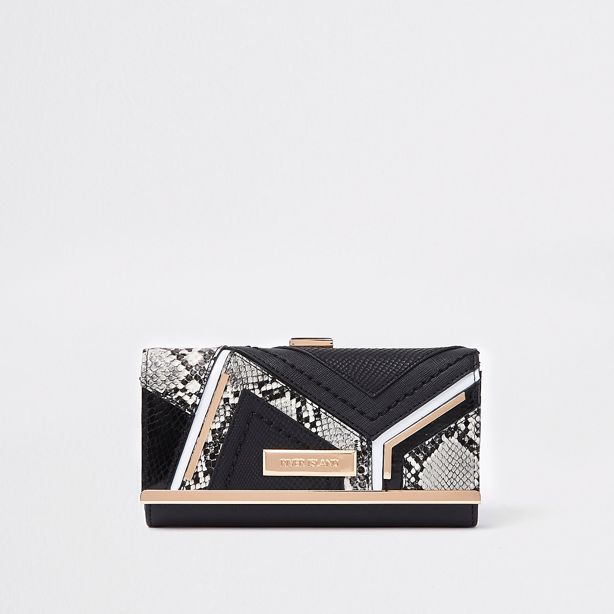 Black snake croc panel cliptop purse