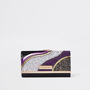 Gold glitter swirl cutabout cliptop purse