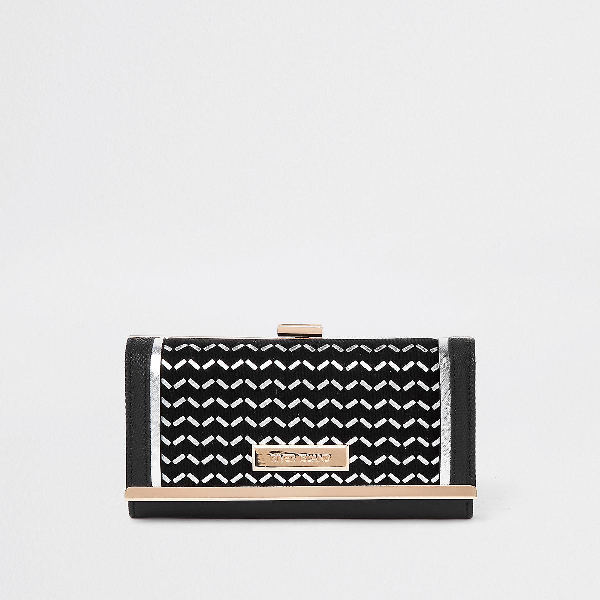 Black silver foil cliptop purse