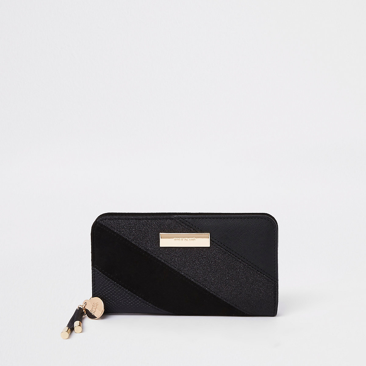 Black gitter panel fold out purse