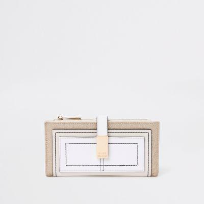 Light Beige Pocket Front Foldout Purse by River Island