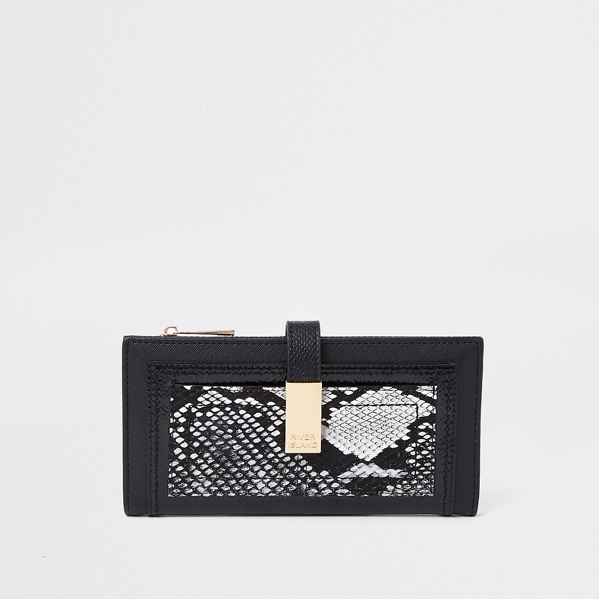 Black snake print front pocket purse