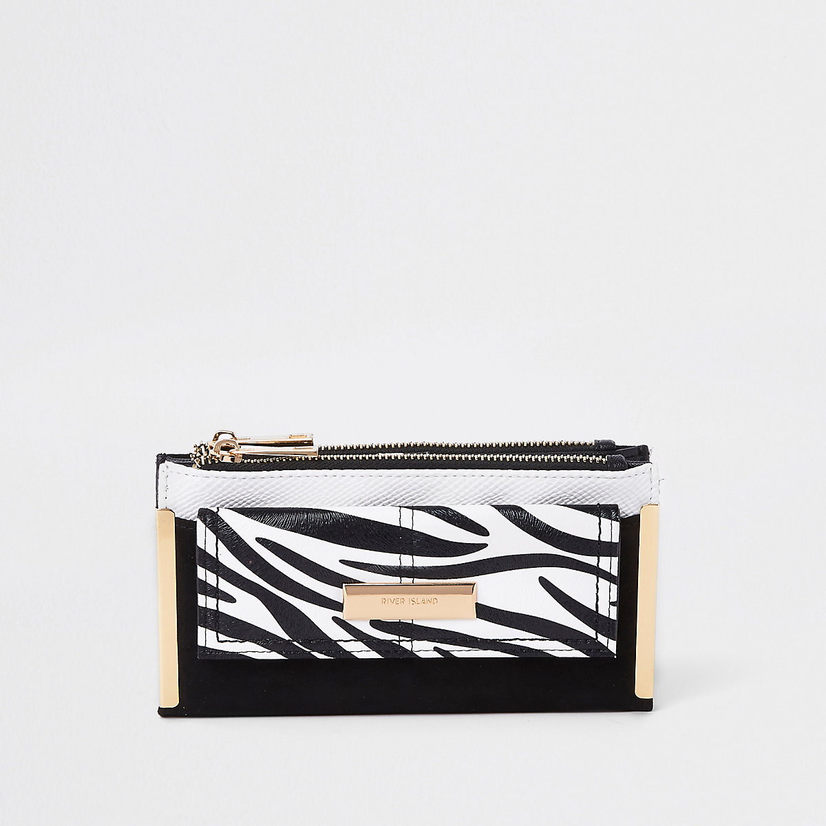 Black zebra print front pocket foldout purse