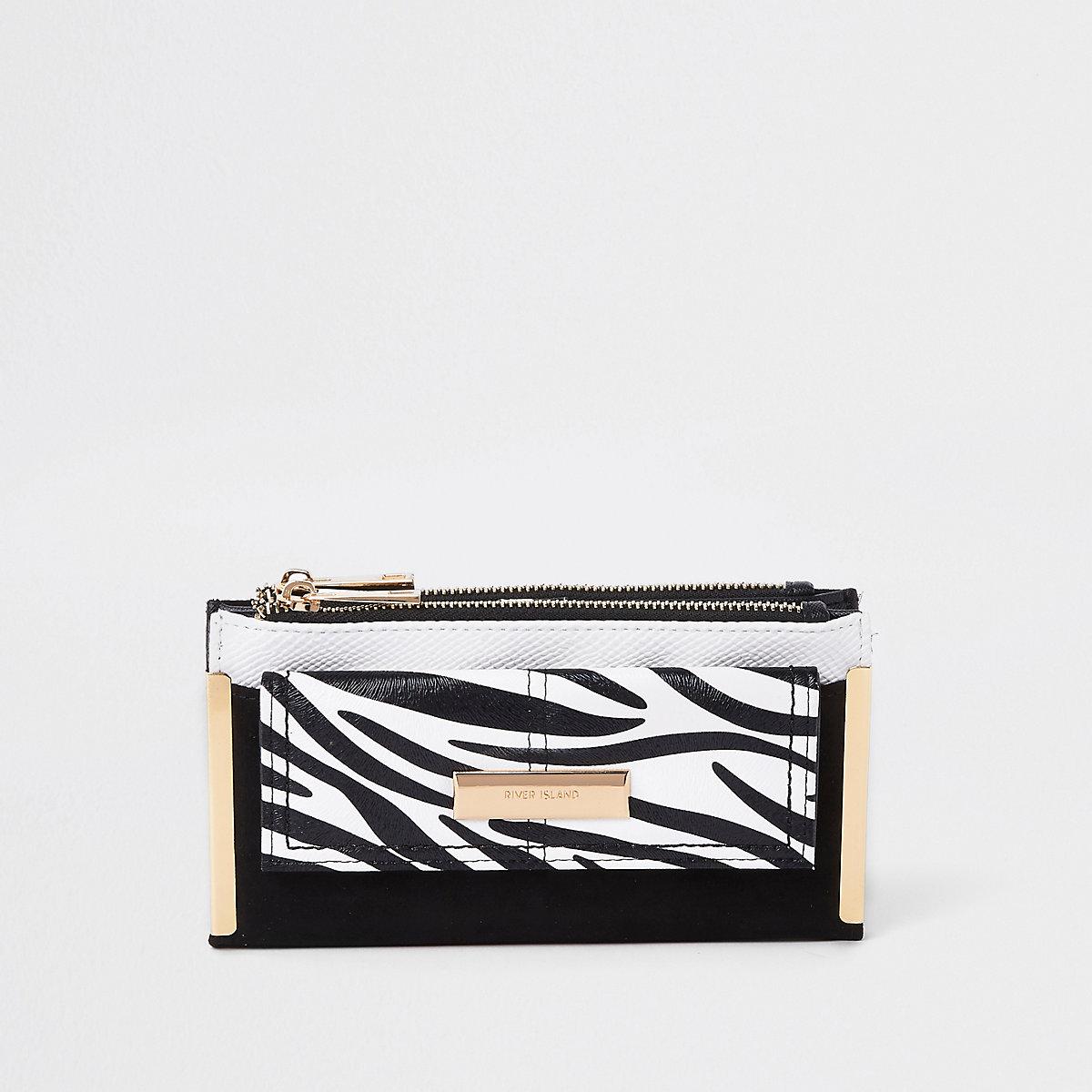 Black zebra print front pocket foldout purse