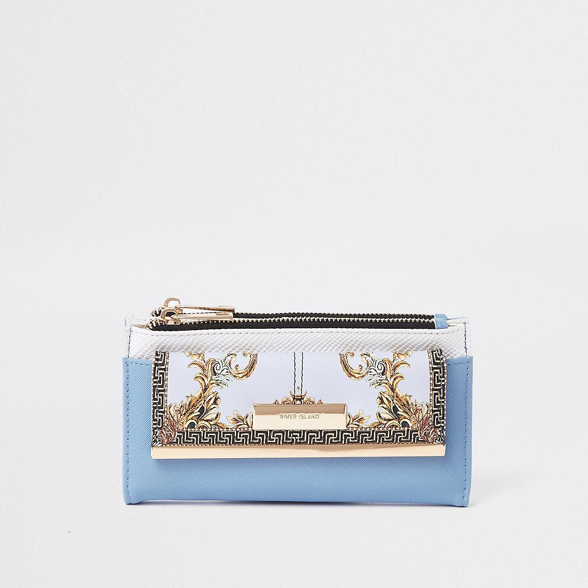 Blue mini front pocket foldout purse