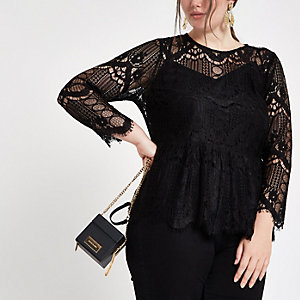 Plus black long sleeve lace top