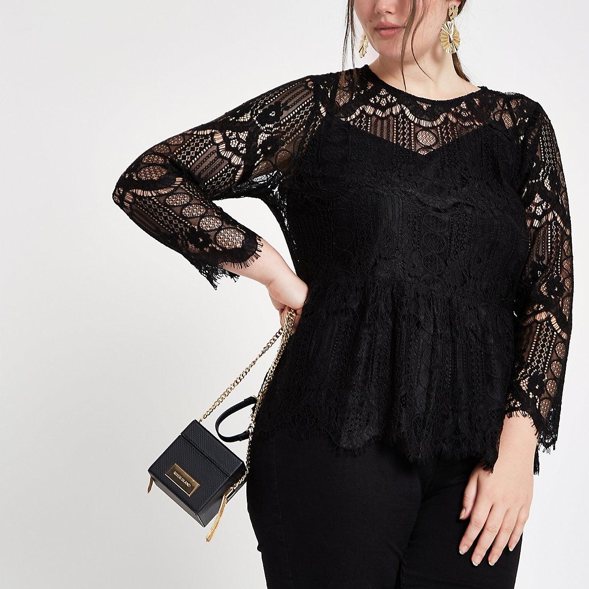 Plus black long sleeve lace top