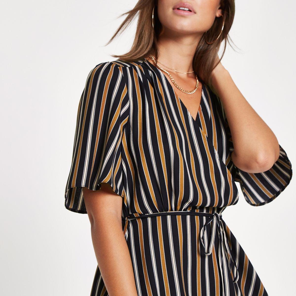 Brown stripe print wrap top