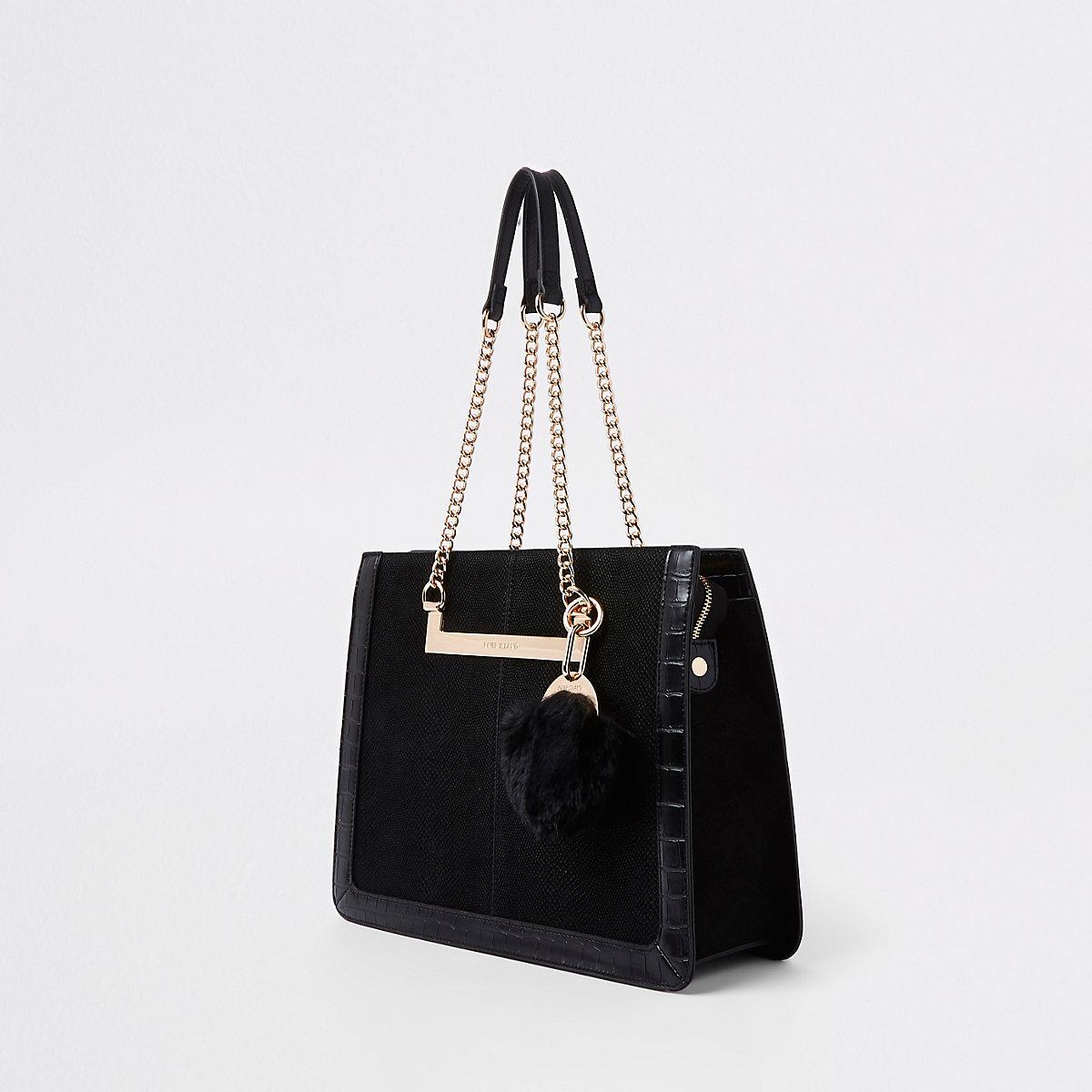 Black chain handle pom pom tote bag - Shopper   Tote Bags - Bags ... 9d7dfbff5e53