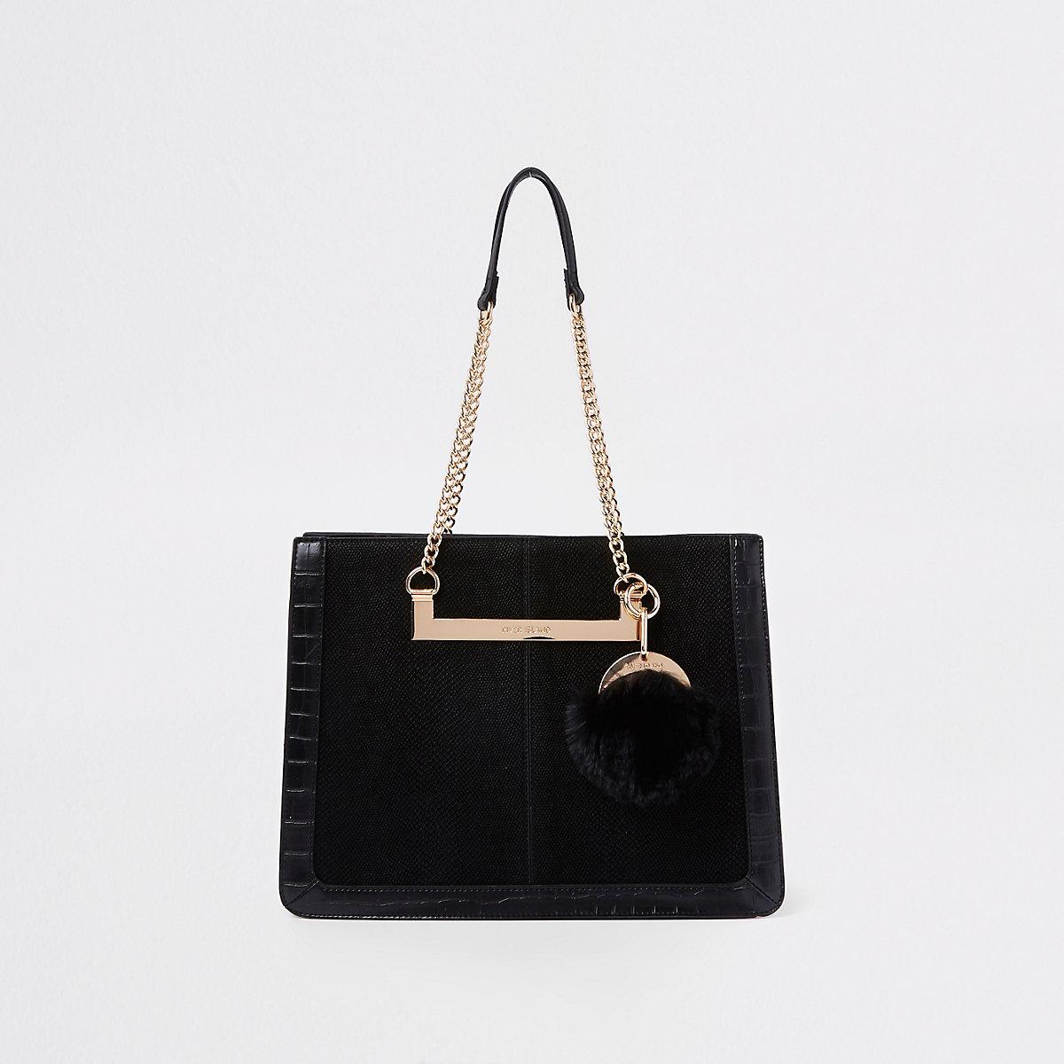 Black chain handle pom pom tote bag