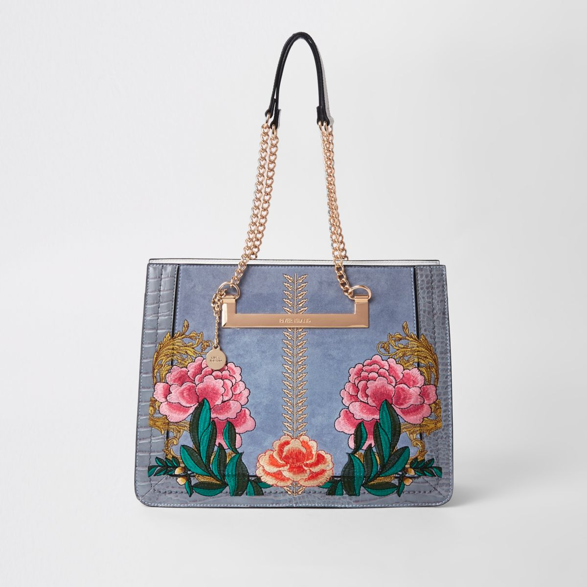 Grey floral embroidered tote bag
