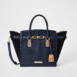 Navy croc embossed winged tote bag