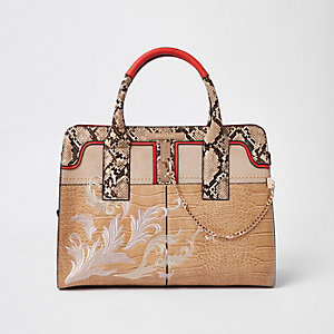 Cream snakeskin embossed embroidered tote bag