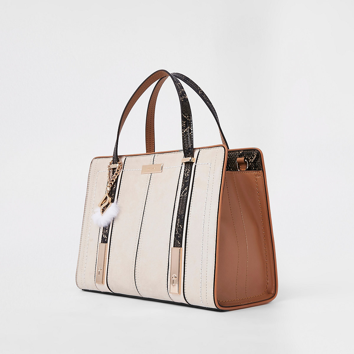 Cream contrast snake panel tote bag