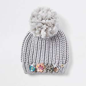 Grey knit embellished beanie hat
