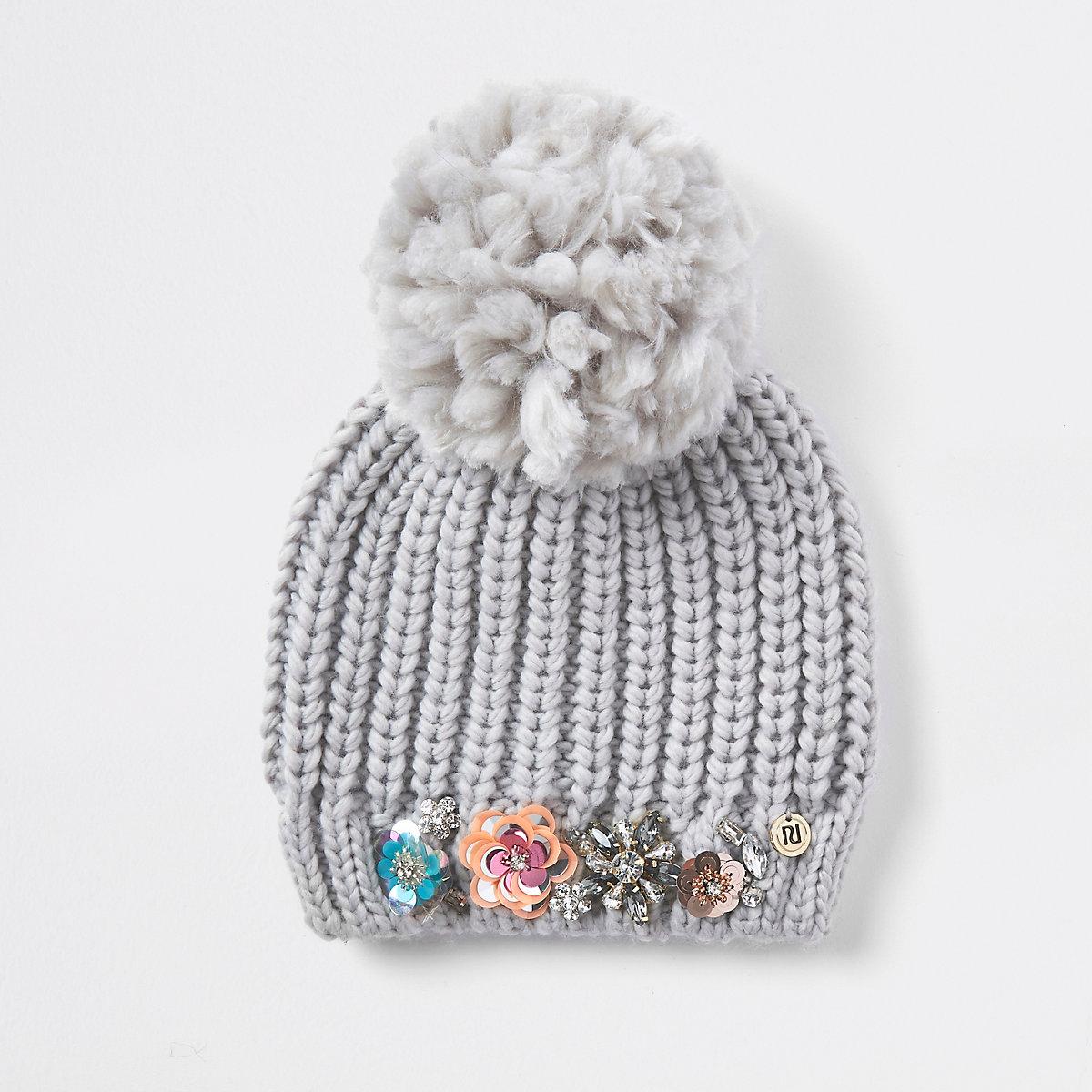 Grey knit embellished beanie hat