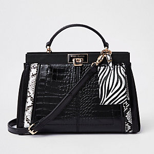 Black croc animal print panel tote bag