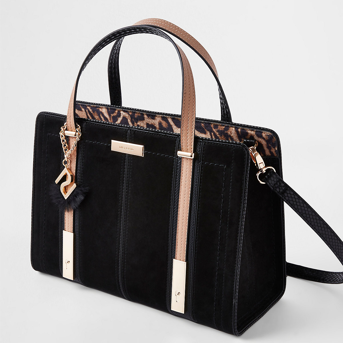 Black contrast RI leopard panel tote bag