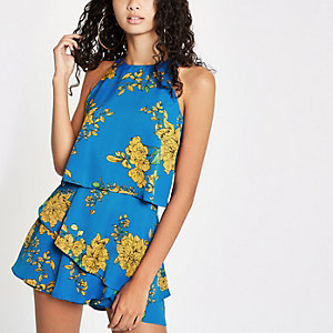 Blue floral print tiered frill playsuit