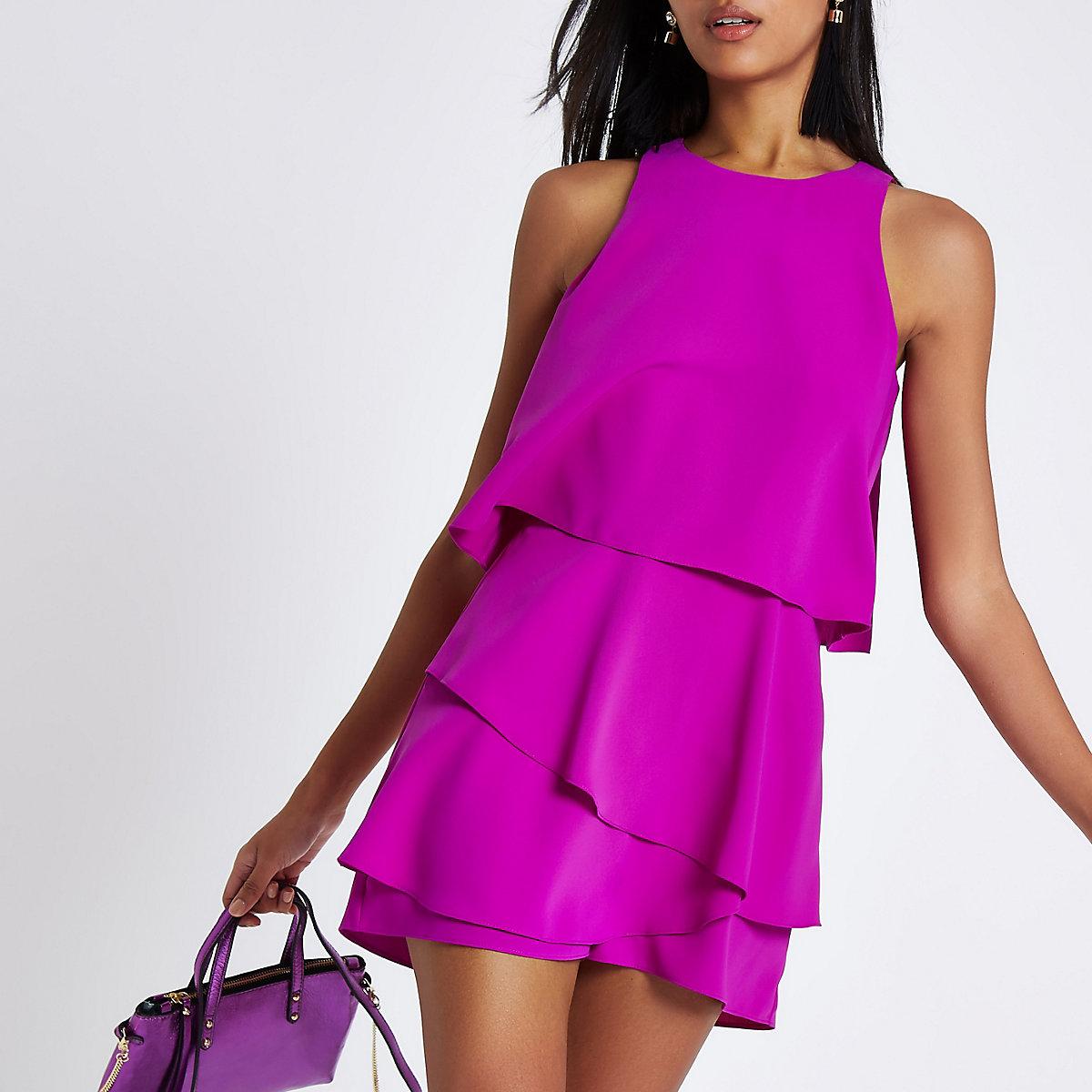 Purple tiered frill sleeveless playsuit