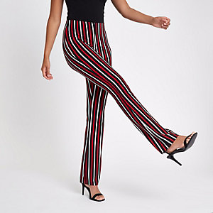 Pantalon évasé côtelé rayé rouge
