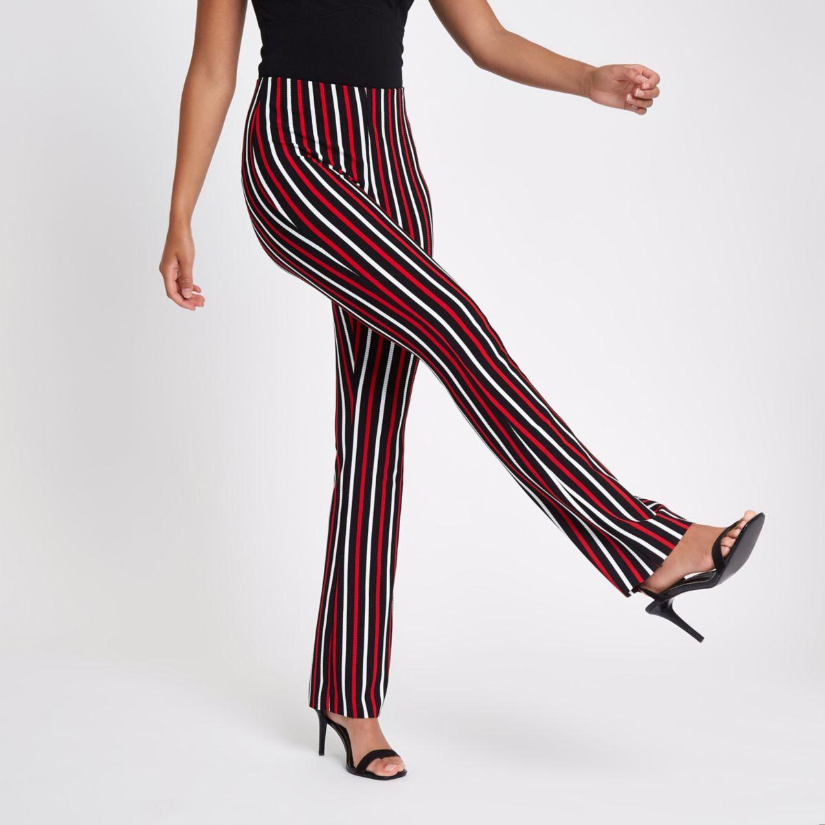 Red stripe rib flared pants