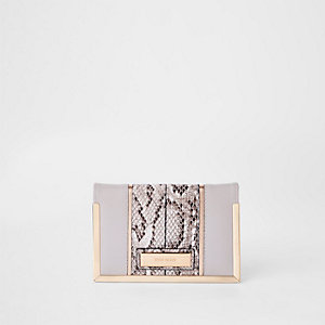 Grey snake print passport holder