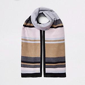 Grijs met beige geblokte grote sjaal