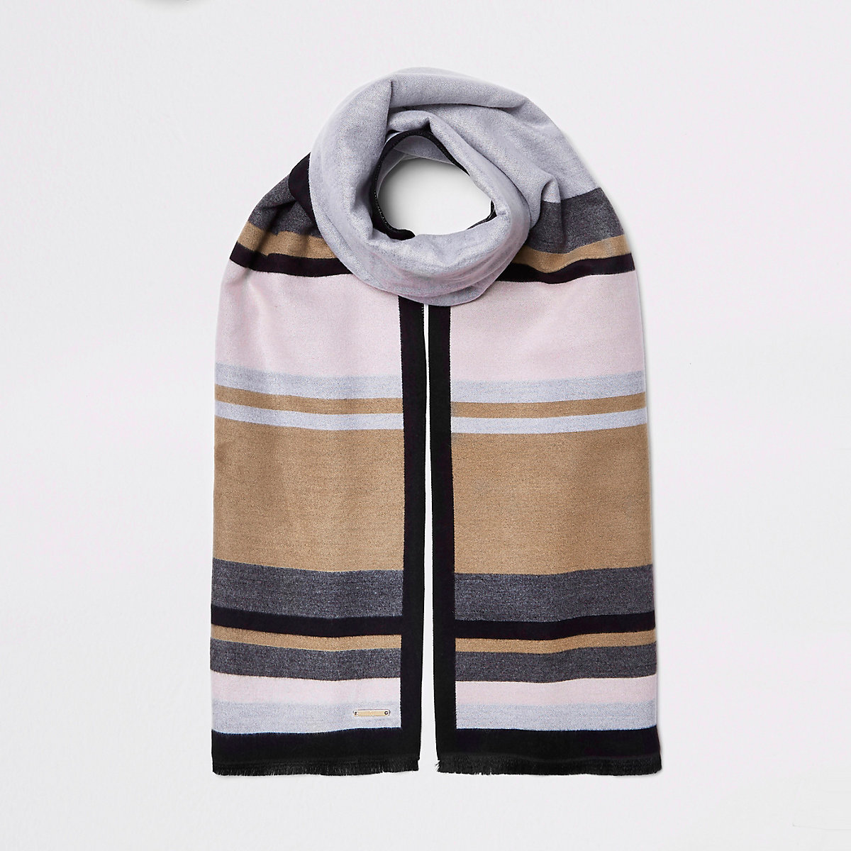 Grey and beige blocked blanket scarf
