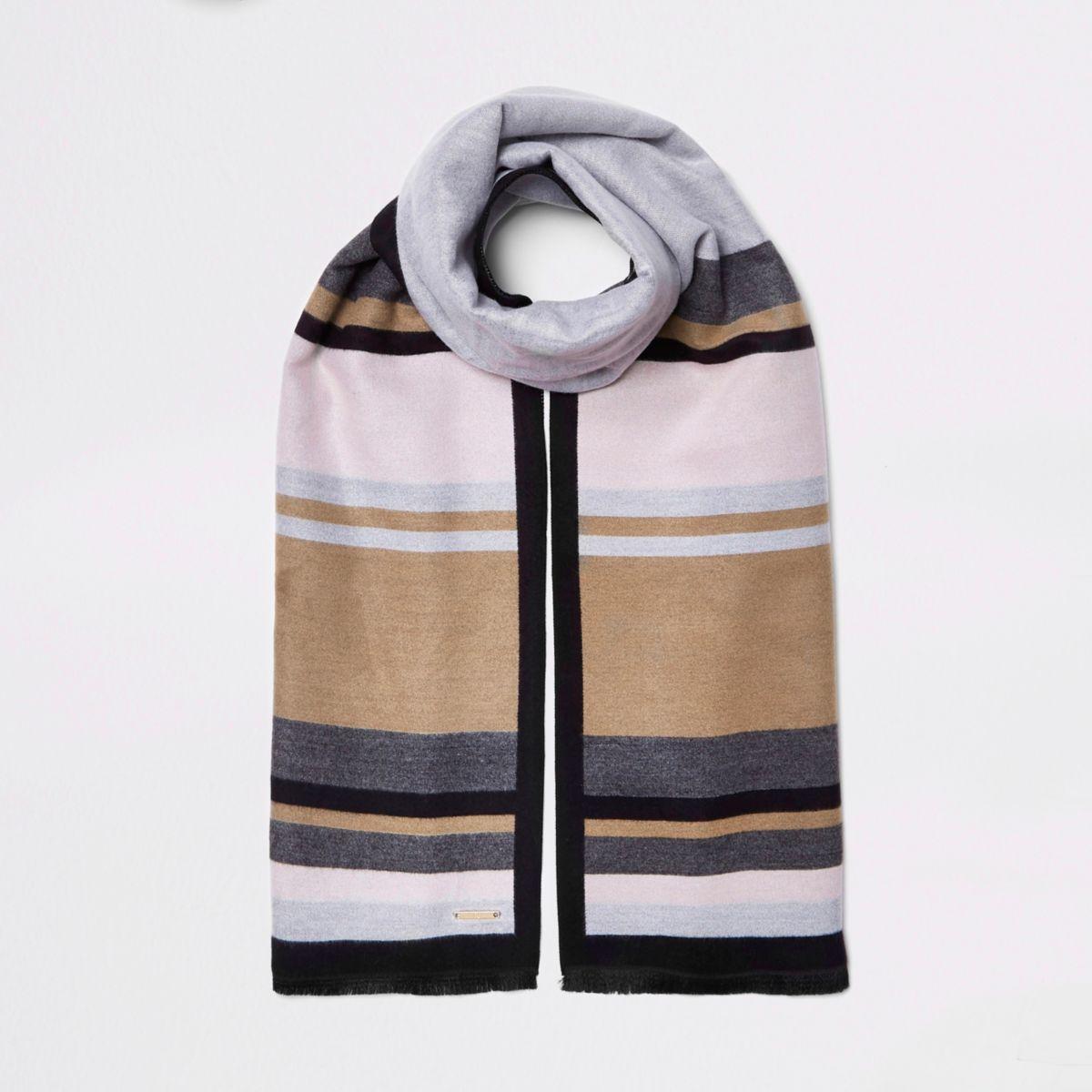 Grey and beige blocked blanket scarf
