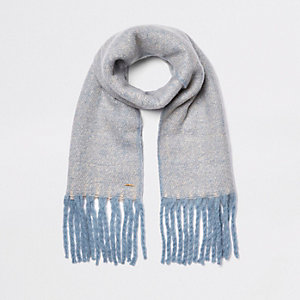 Light blue marl fluffy scarf