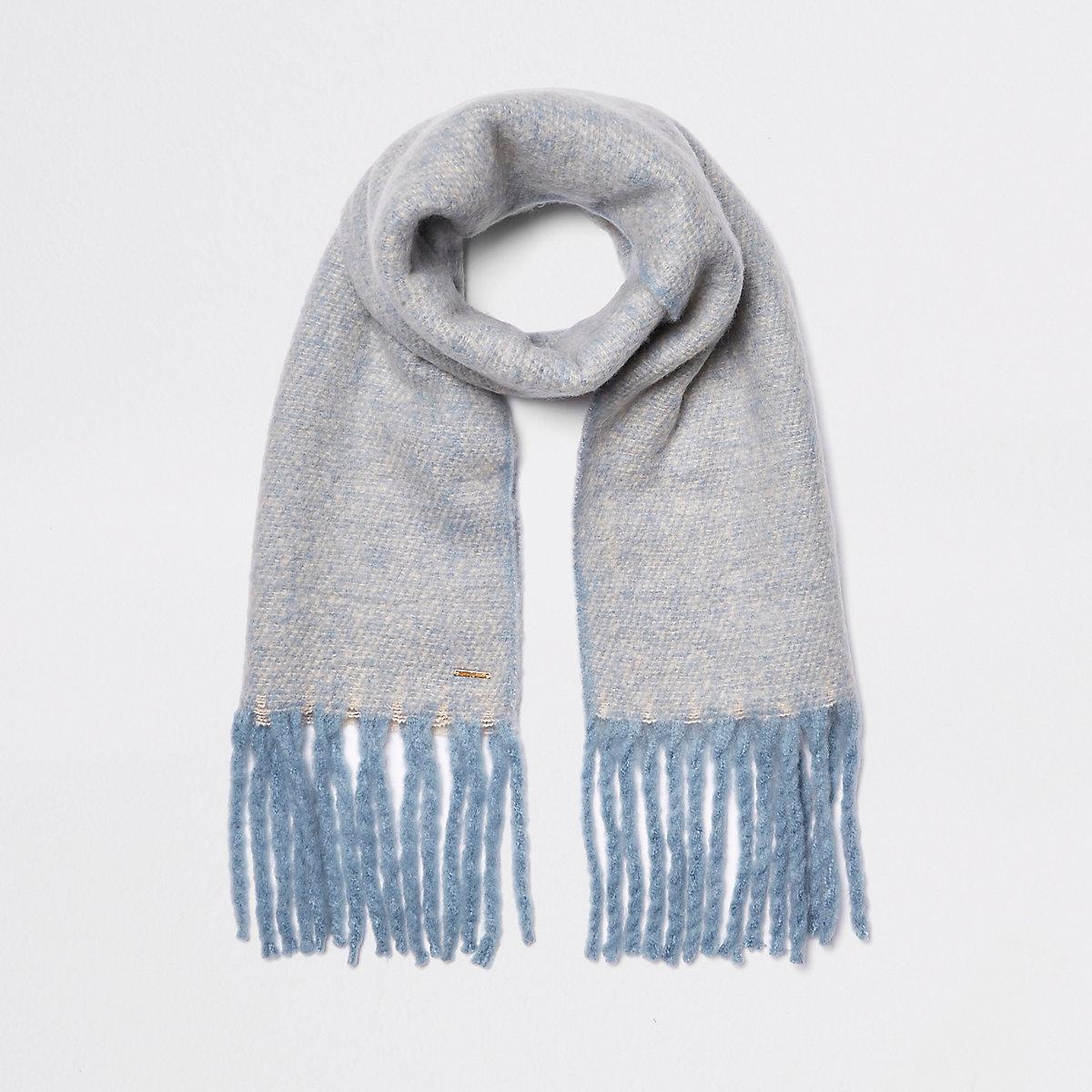 Light blue marl fluffy scarf