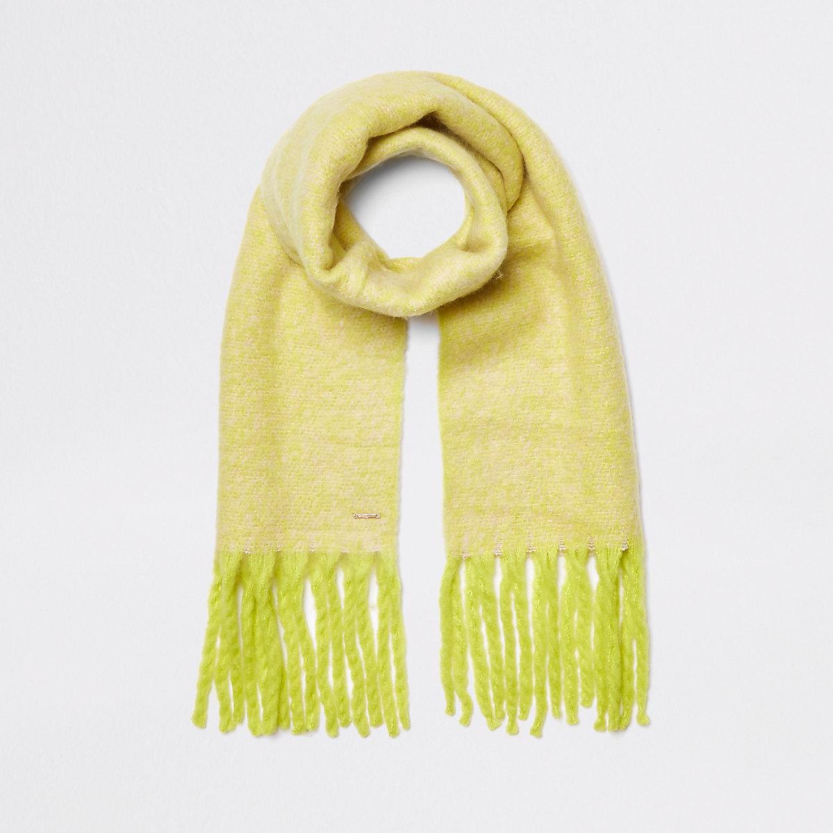 Neon yellow marl fluffy scarf