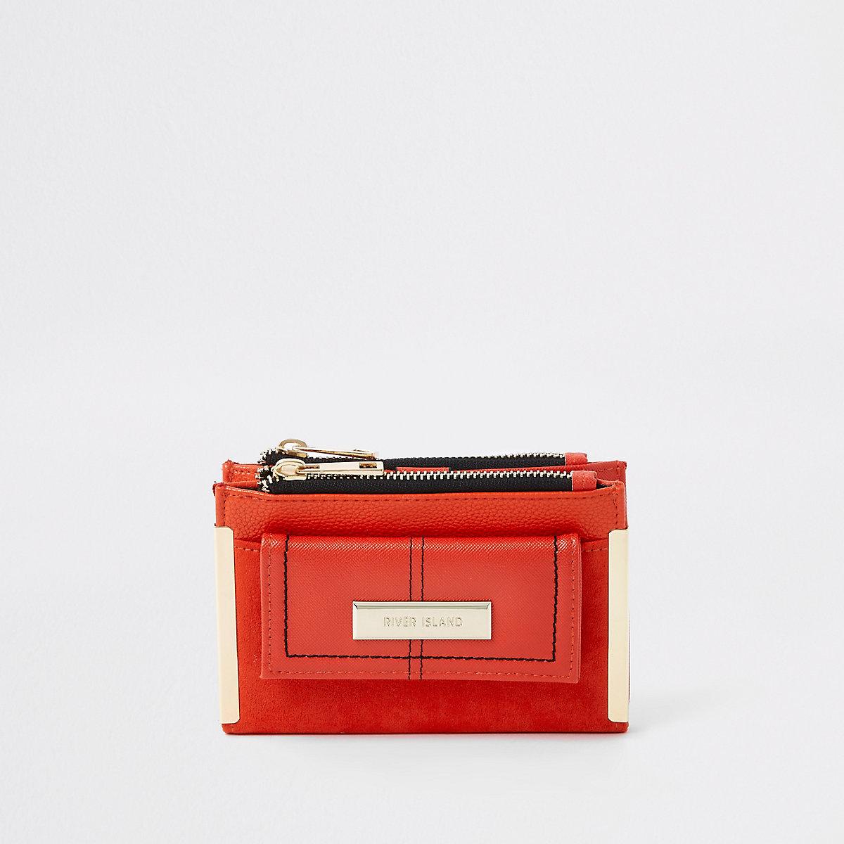 Bright orange mini foldout purse