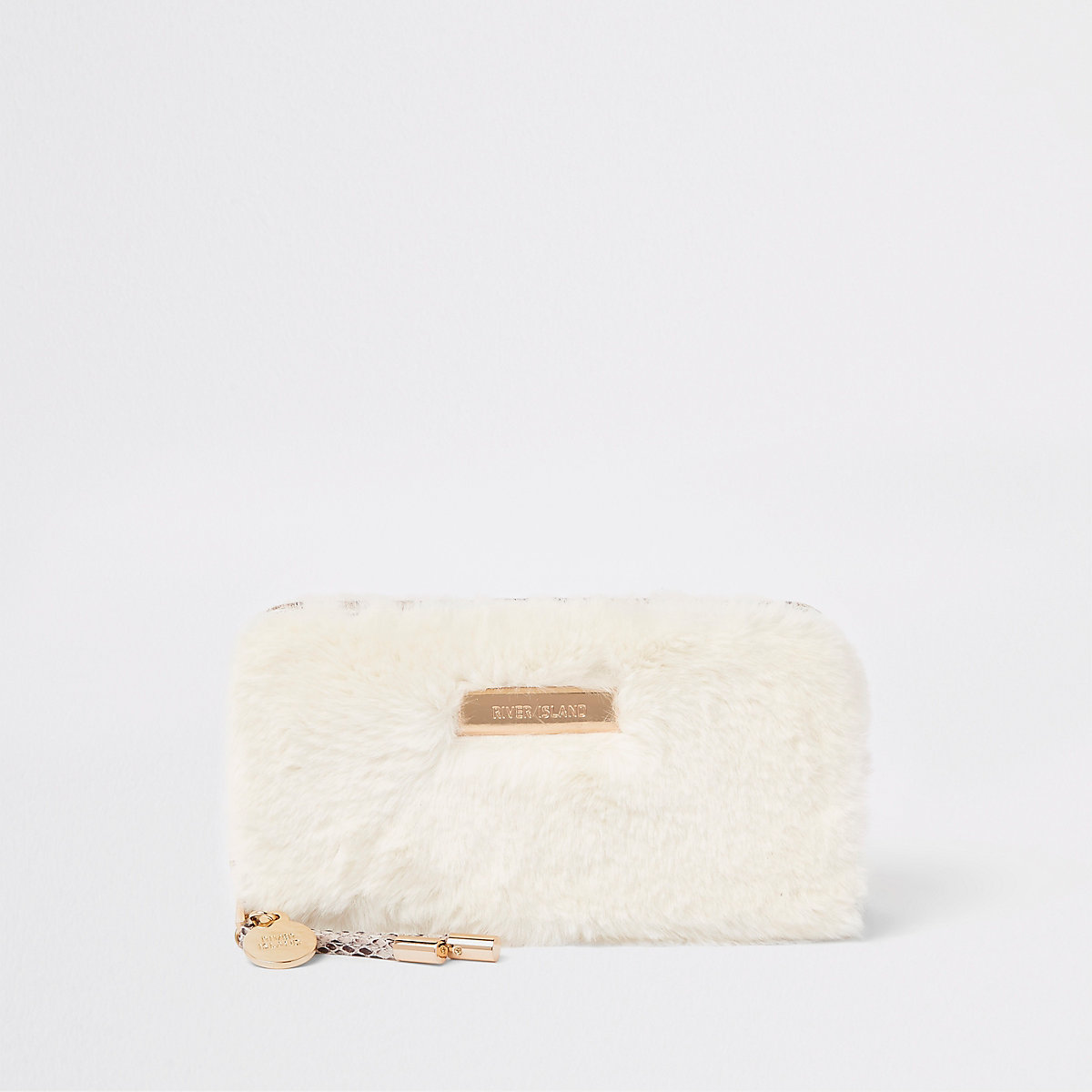 Cream faux fur zip around purse