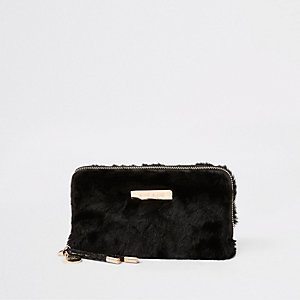 Black faux fur zip around purse