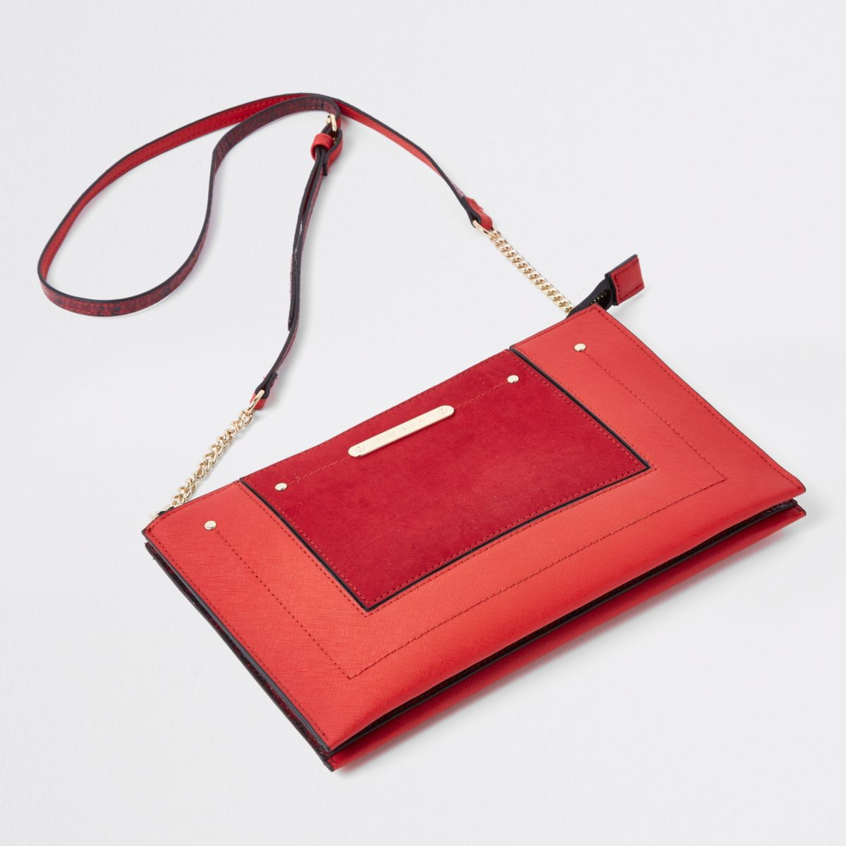 Red chain cross body bag