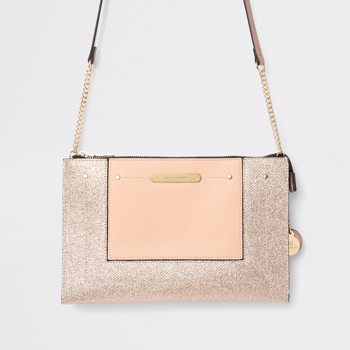 Gold embossed glitter cross body bag