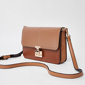 Light brown lock front underarm bag