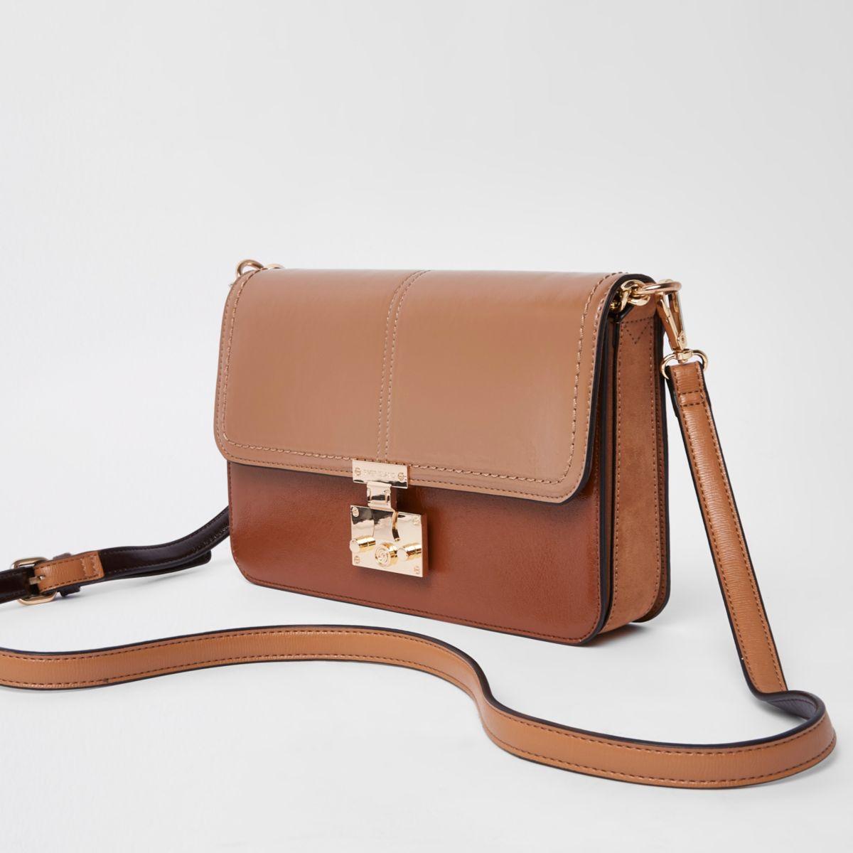 Light brown lock front underarm bag